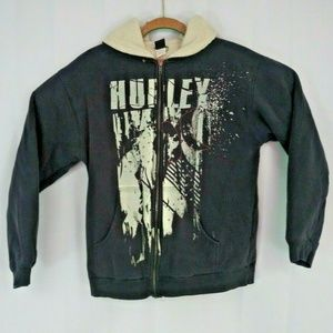 Hurley Boys Small Hoodie Zipper Closure Fur lined